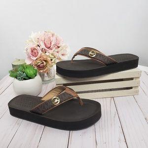 Michael Kors Brown Gold Monogram Thong Sandals